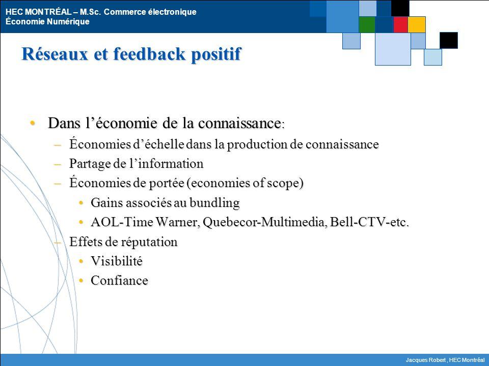 HEC MONTRÉAL – M.Sc. Commerce électronique Économie Numérique Jacques Robert, HEC Montréal Réseaux et feedback positif Dans léconomie de la connaissan