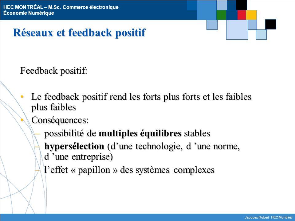 HEC MONTRÉAL – M.Sc. Commerce électronique Économie Numérique Jacques Robert, HEC Montréal Réseaux et feedback positif Feedback positif: Le feedback p