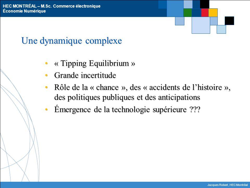 HEC MONTRÉAL – M.Sc. Commerce électronique Économie Numérique Jacques Robert, HEC Montréal Une dynamique complexe « Tipping Equilibrium »« Tipping Equ