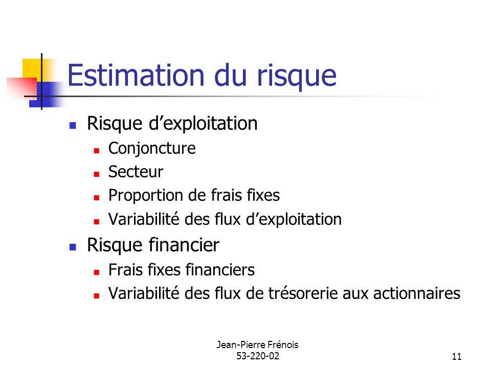 Jean-Pierre Frénois 53-220-0211 Estimation du risque Risque dexploitation Conjoncture Secteur Proportion de frais fixes Variabilité des flux dexploita