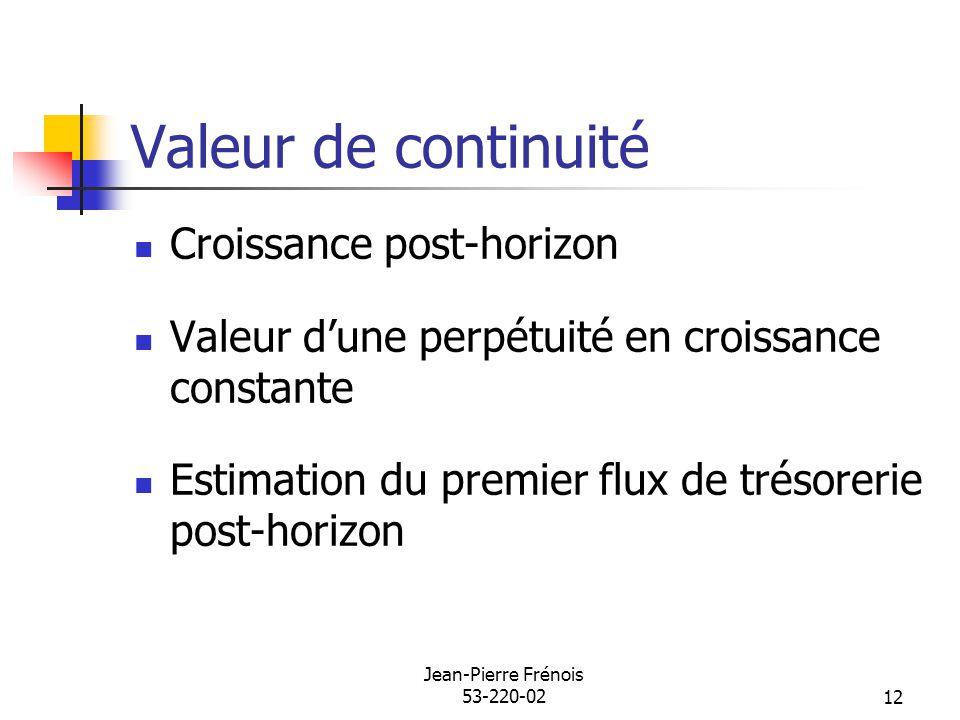 Jean-Pierre Frénois 53-220-0212 Valeur de continuité Croissance post-horizon Valeur dune perpétuité en croissance constante Estimation du premier flux de trésorerie post-horizon