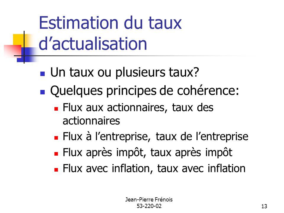 Jean-Pierre Frénois 53-220-0213 Estimation du taux dactualisation Un taux ou plusieurs taux? Quelques principes de cohérence: Flux aux actionnaires, t