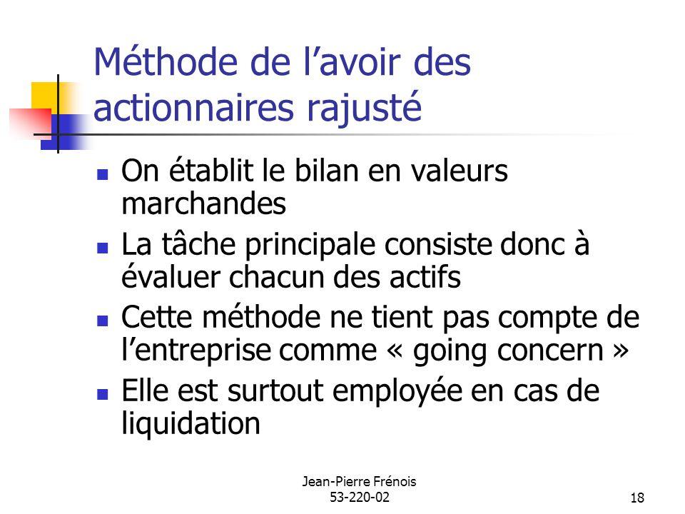 Jean-Pierre Frénois 53-220-0218 Méthode de lavoir des actionnaires rajusté On établit le bilan en valeurs marchandes La tâche principale consiste donc
