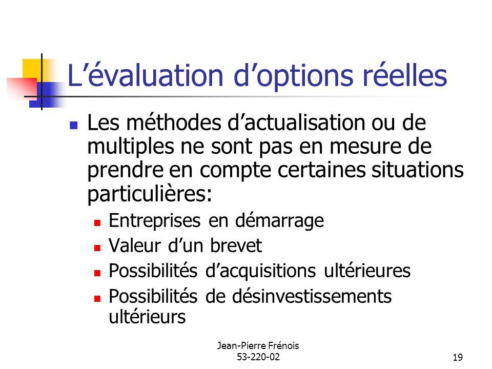 Jean-Pierre Frénois 53-220-0219 Lévaluation doptions réelles Les méthodes dactualisation ou de multiples ne sont pas en mesure de prendre en compte ce