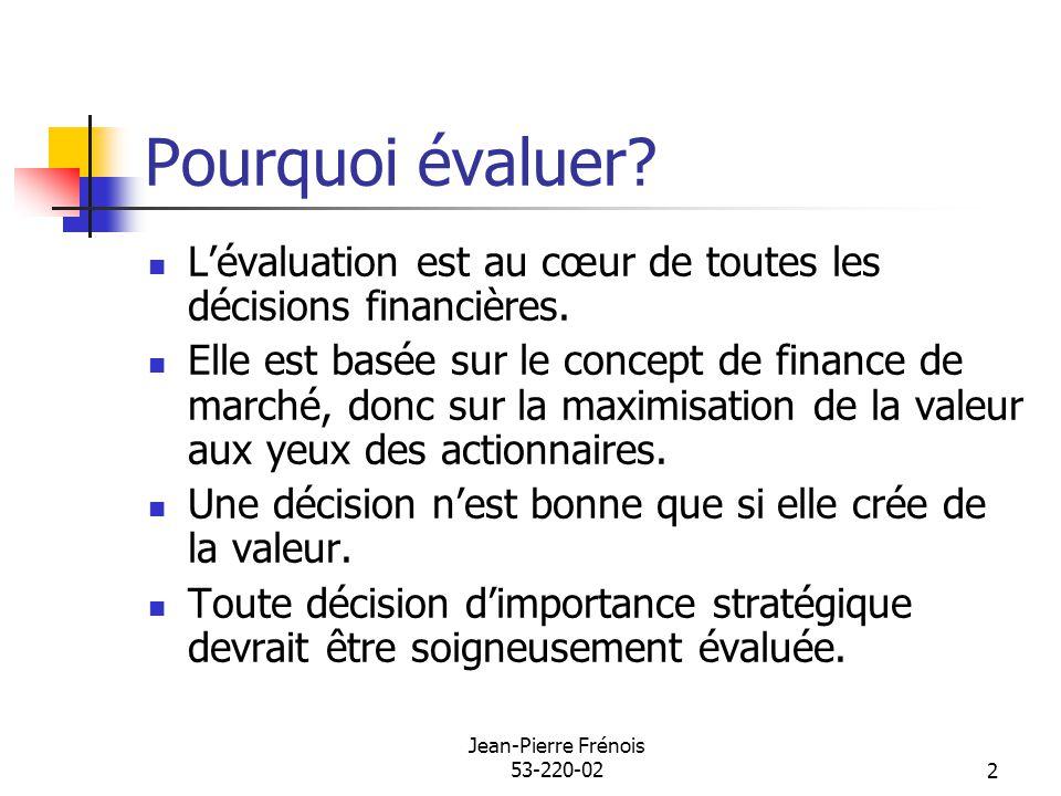 Jean-Pierre Frénois 53-220-022 Pourquoi évaluer? Lévaluation est au cœur de toutes les décisions financières. Elle est basée sur le concept de finance