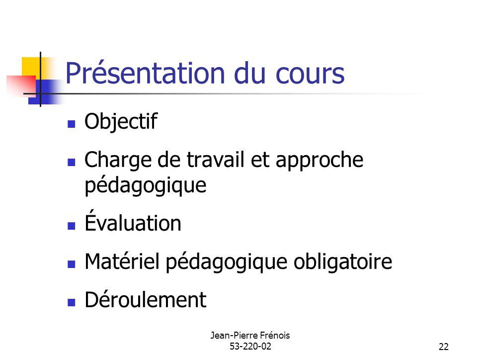 Jean-Pierre Frénois 53-220-0222 Présentation du cours Objectif Charge de travail et approche pédagogique Évaluation Matériel pédagogique obligatoire D