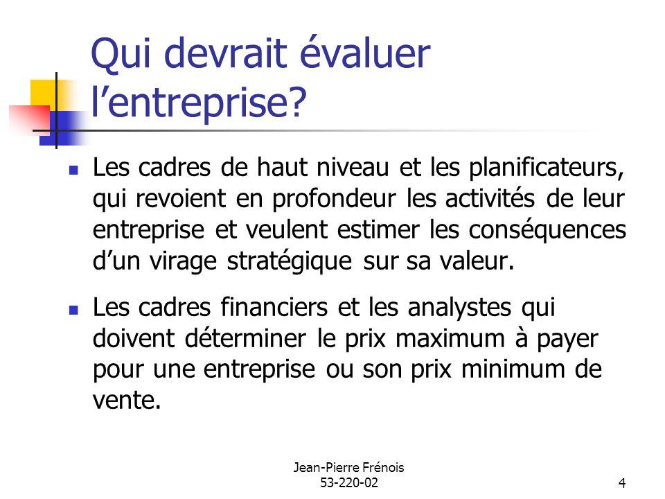 Jean-Pierre Frénois 53-220-024 Qui devrait évaluer lentreprise? Les cadres de haut niveau et les planificateurs, qui revoient en profondeur les activi