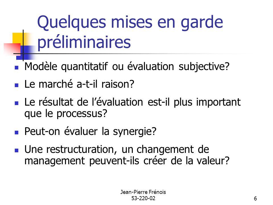 Jean-Pierre Frénois 53-220-026 Quelques mises en garde préliminaires Modèle quantitatif ou évaluation subjective? Le marché a-t-il raison? Le résultat