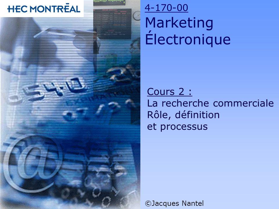 4-170-00 Marketing Électronique ©Jacques Nantel Cours 2 : La recherche commerciale Rôle, définition et processus