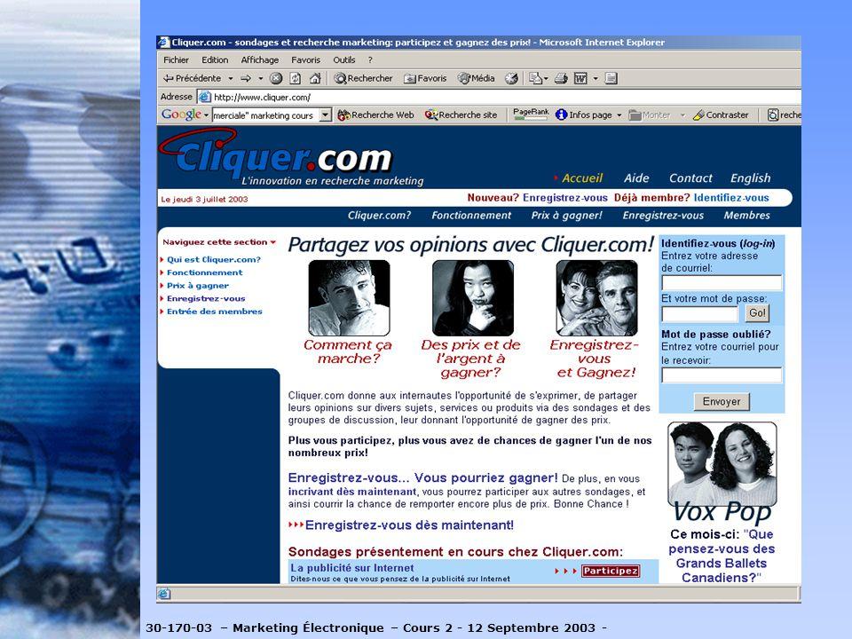 http://www.cliquer.com/cliquercom.cfm 30-170-03 – Marketing Électronique – Cours 2 - 12 Septembre 2003 -