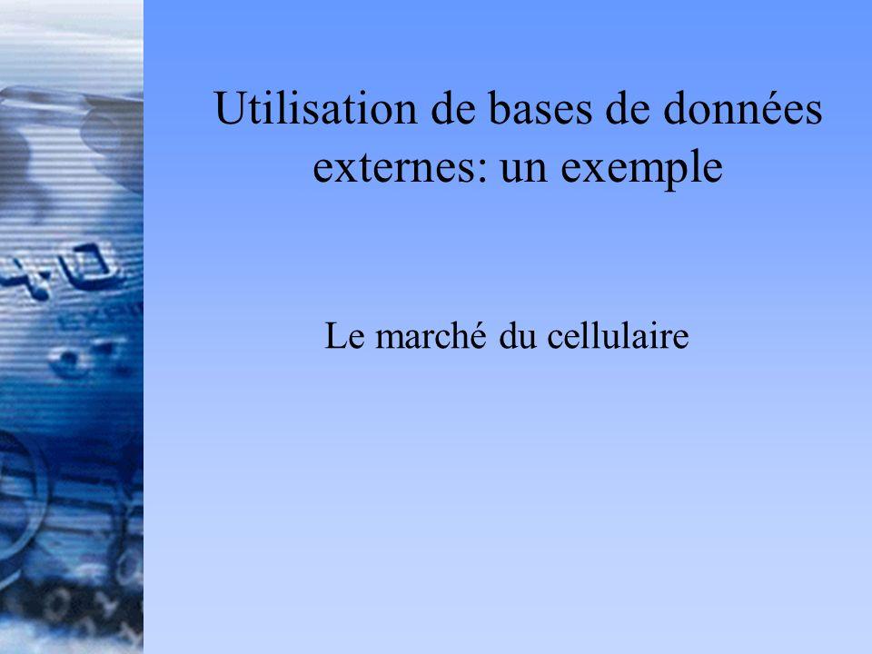 Utilisation de bases de données externes: un exemple Le marché du cellulaire