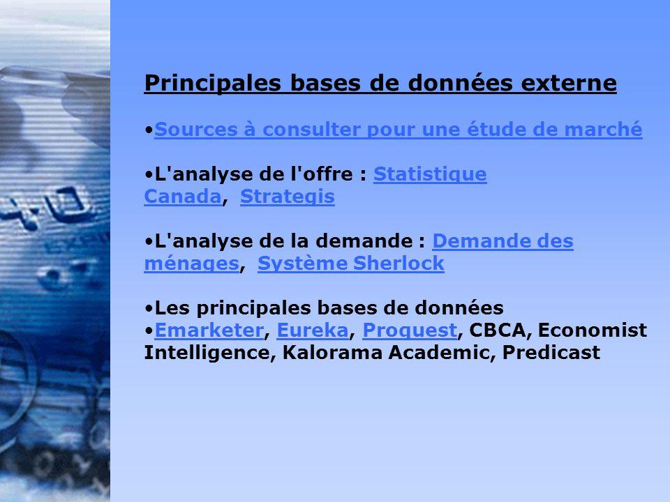 Principales bases de données externe Sources à consulter pour une étude de marché L'analyse de l'offre : Statistique Canada, StrategisStatistique Cana