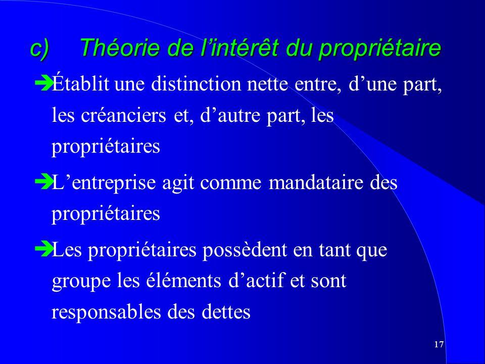 16 b) Théorie de lentité distincte èLentreprise a une existence distincte de celle de ses pourvoyeurs de fonds èPas de distinction entre les capitaux