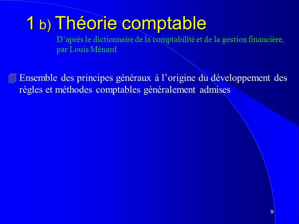 8 1 a) La comptabilité Daprès le dictionnaire de la comptabilité et de la gestion financière, par Louis Ménard 4Système dinformation permettant de ras