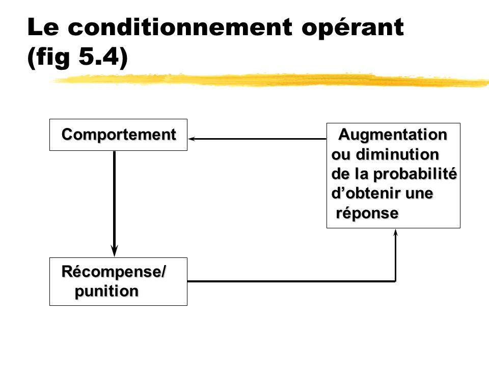 Le conditionnement opérant (fig 5.4) Comportement Augmentation ou diminution ou diminution de la probabilité de la probabilité dobtenir une dobtenir u