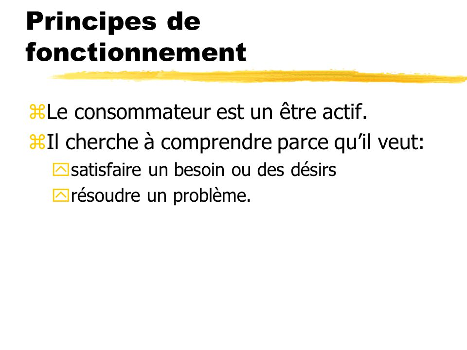 Principes de fonctionnement zLe consommateur est un être actif. zIl cherche à comprendre parce quil veut: ysatisfaire un besoin ou des désirs yrésoudr