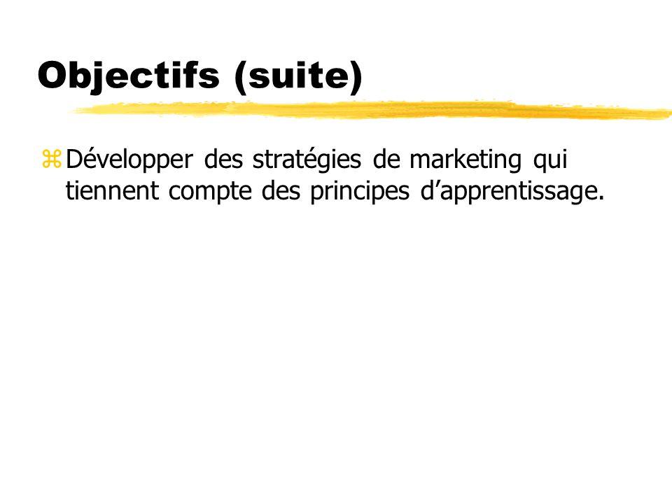 Objectifs (suite) zDévelopper des stratégies de marketing qui tiennent compte des principes dapprentissage.