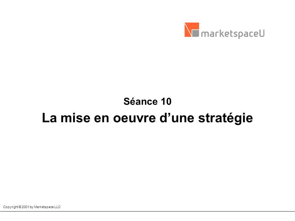 Séance 10 La mise en oeuvre dune stratégie Copyright © 2001 by Marketspace LLC
