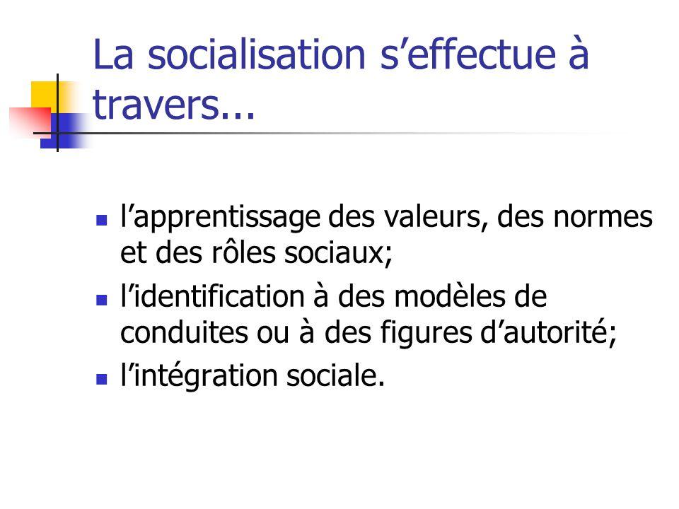La socialisation processus par lequel la personne apprend et intériorise tout au cours de sa vie les éléments socio-culturels de son milieu, les intèg