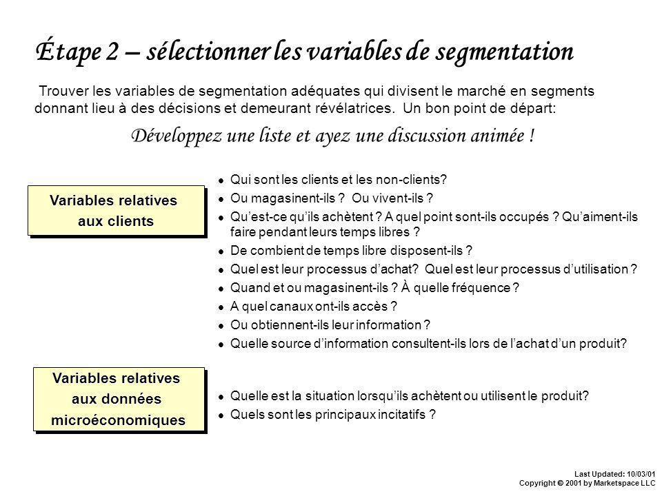 Last Updated: 10/03/01 Copyright 2001 by Marketspace LLC Étape 2 – sélectionner les variables de segmentation Trouver les variables de segmentation adéquates qui divisent le marché en segments donnant lieu à des décisions et demeurant révélatrices.