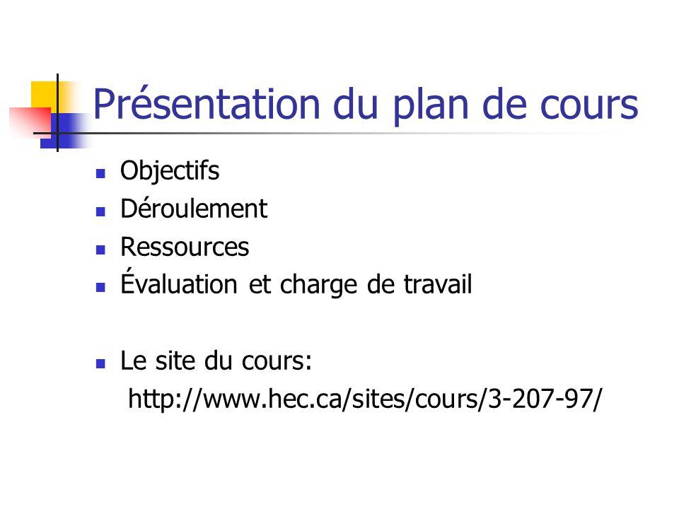 Présentation du plan de cours Objectifs Déroulement Ressources Évaluation et charge de travail Le site du cours: http://www.hec.ca/sites/cours/3-207-9
