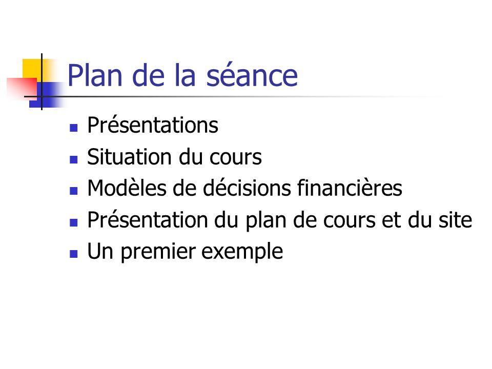 Plan de la séance Présentations Situation du cours Modèles de décisions financières Présentation du plan de cours et du site Un premier exemple