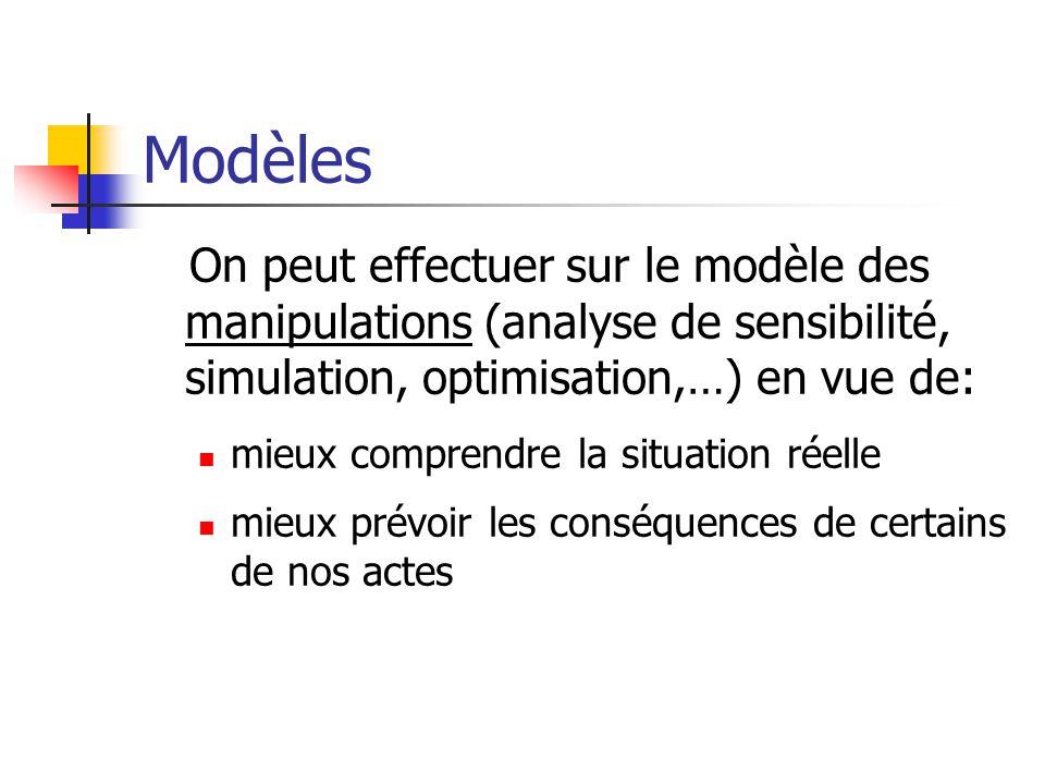 Modèles On peut effectuer sur le modèle des manipulations (analyse de sensibilité, simulation, optimisation,…) en vue de: mieux comprendre la situatio