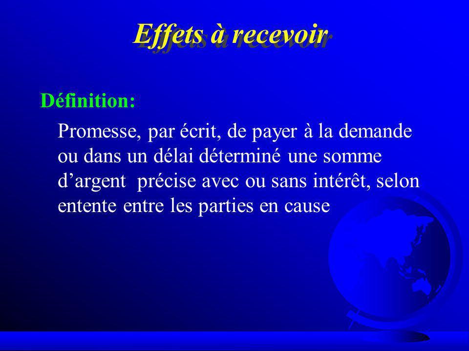 Effets à recevoir Définition: Promesse, par écrit, de payer à la demande ou dans un délai déterminé une somme dargent précise avec ou sans intérêt, se