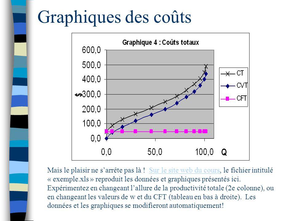 Graphiques des coûts Mais le plaisir ne sarrête pas là ! Sur le site web du cours, le fichier intitulé « exemple.xls » reproduit les données et graphi