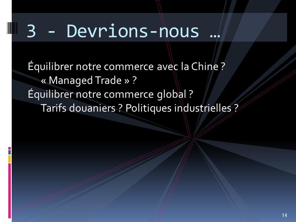 Équilibrer notre commerce avec la Chine ? « Managed Trade » ? Équilibrer notre commerce global ? Tarifs douaniers ? Politiques industrielles ? 14 3 -