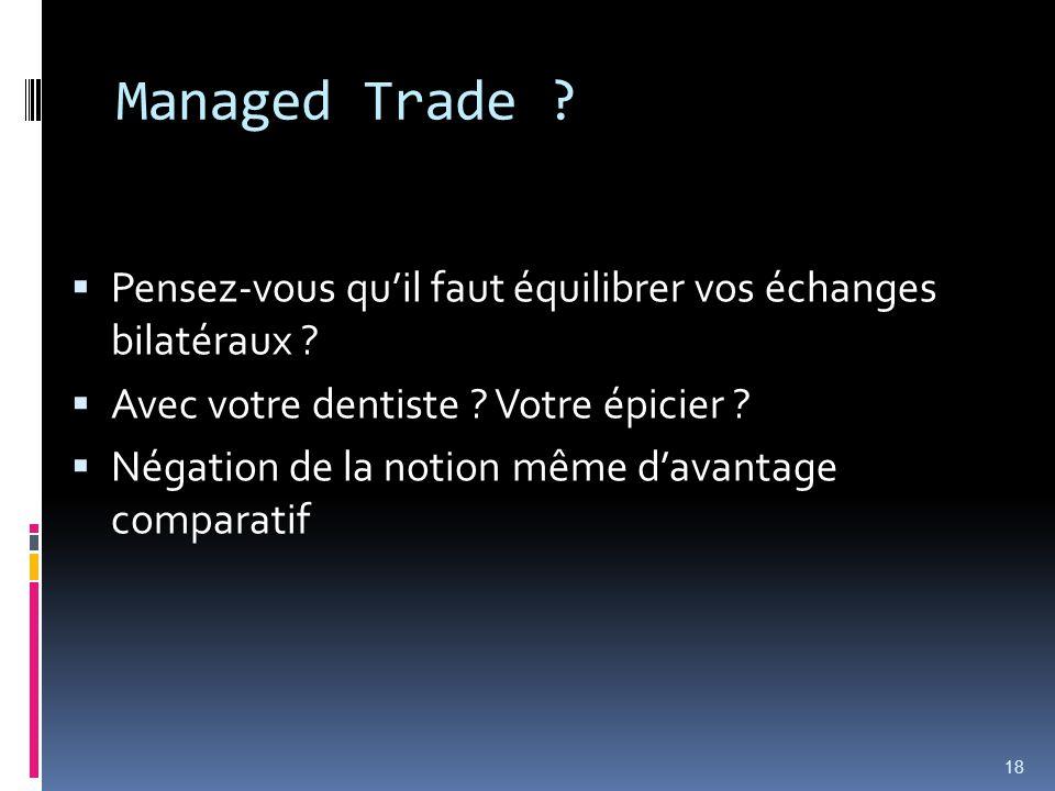 Managed Trade ? Pensez-vous quil faut équilibrer vos échanges bilatéraux ? Avec votre dentiste ? Votre épicier ? Négation de la notion même davantage