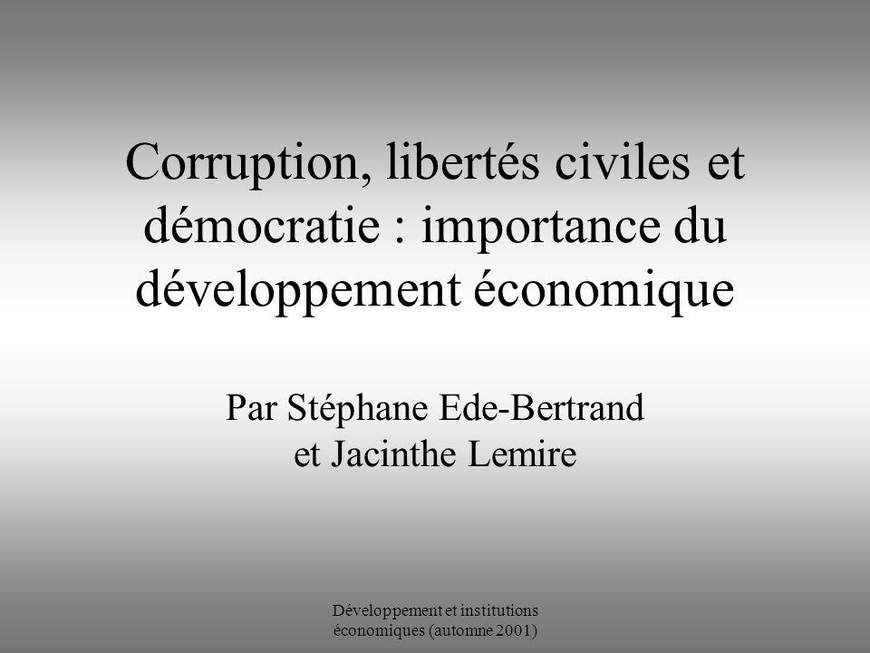 Développement et institutions économiques (automne 2001) Corruption, libertés civiles et démocratie : importance du développement économique Par Stéphane Ede-Bertrand et Jacinthe Lemire