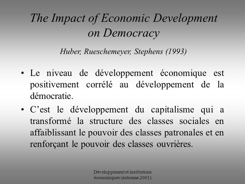 Développement et institutions économiques (automne 2001) Combattre la corruption Importance dune action coordonnée à tous les niveaux Volontés politiques (réformes) Institutions (outils) Libéralisation économique (motivations) Réglementation internationale (opportunités)