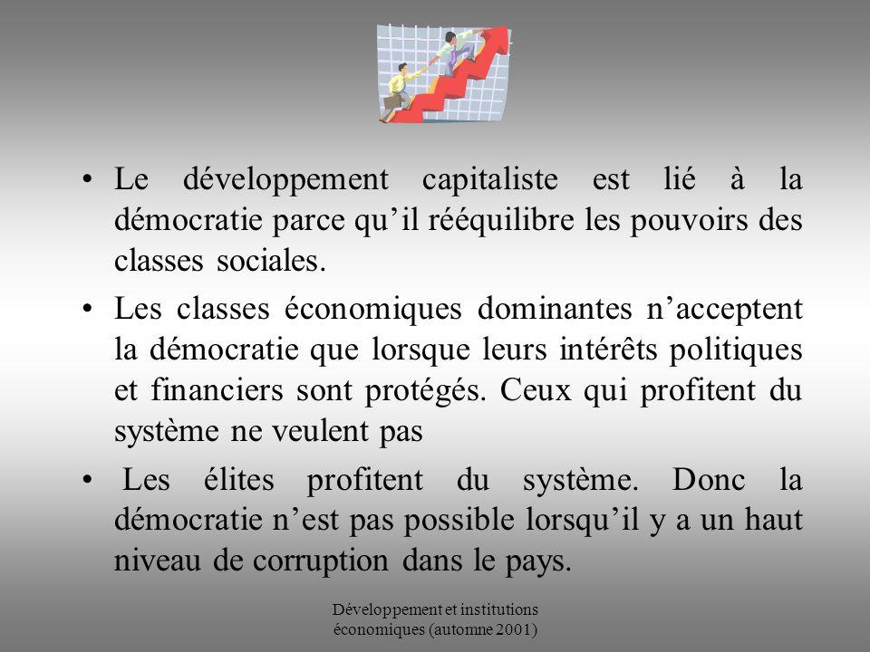 Développement et institutions économiques (automne 2001) The Impact of Economic Development on Democracy Huber, Rueschemeyer, Stephens (1993) Le niveau de développement économique est positivement corrélé au développement de la démocratie.