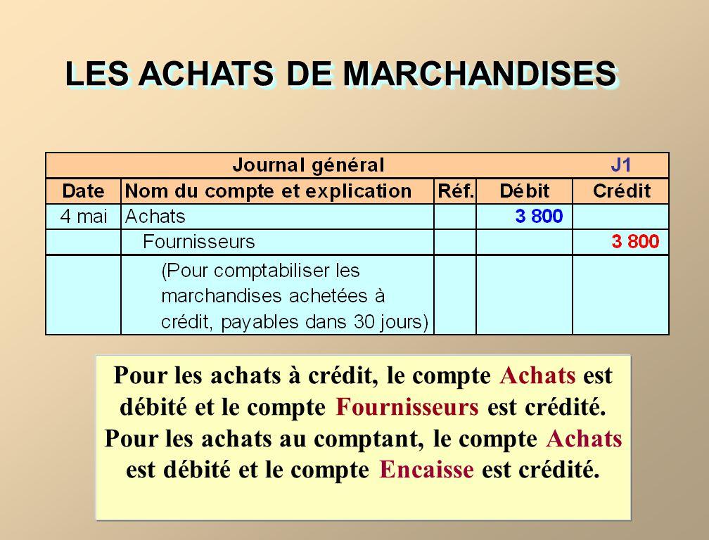 LES ACHATS DE MARCHANDISES Pour les achats à crédit, le compte Achats est débité et le compte Fournisseurs est crédité.