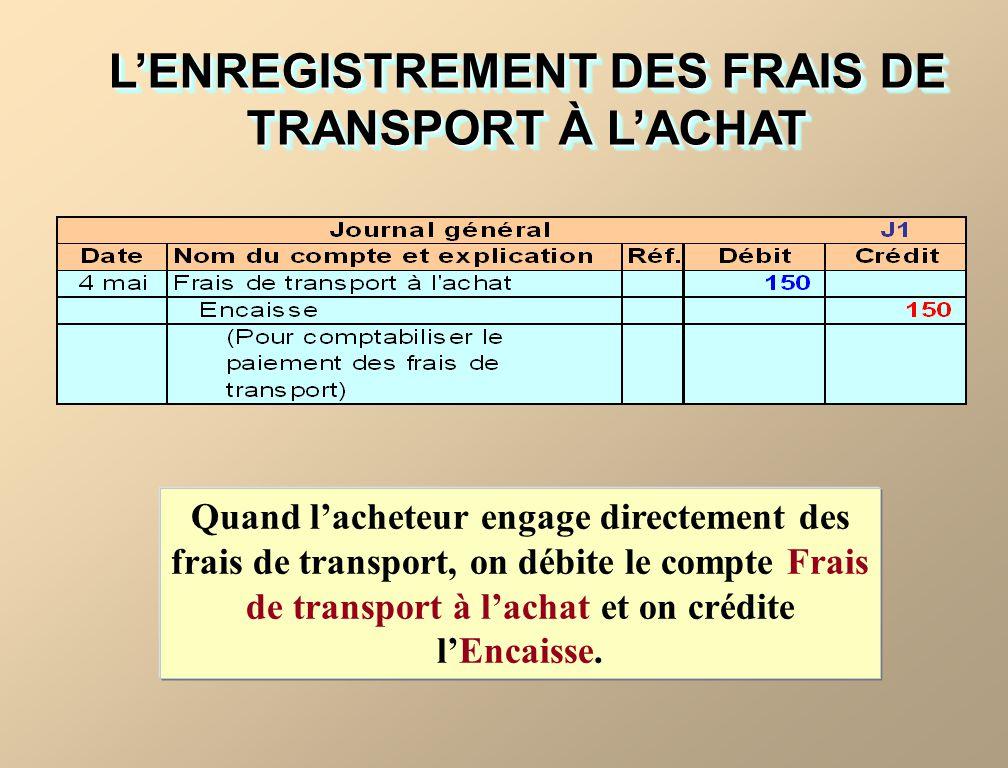 Quand lacheteur engage directement des frais de transport, on débite le compte Frais de transport à lachat et on crédite lEncaisse.