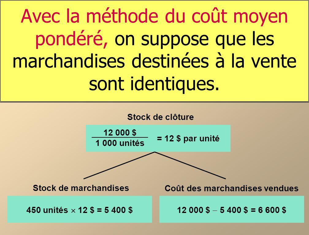 Avec la méthode du coût moyen pondéré, on suppose que les marchandises destinées à la vente sont identiques.