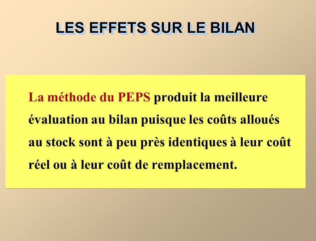 La méthode du PEPS produit la meilleure évaluation au bilan puisque les coûts alloués au stock sont à peu près identiques à leur coût réel ou à leur coût de remplacement.