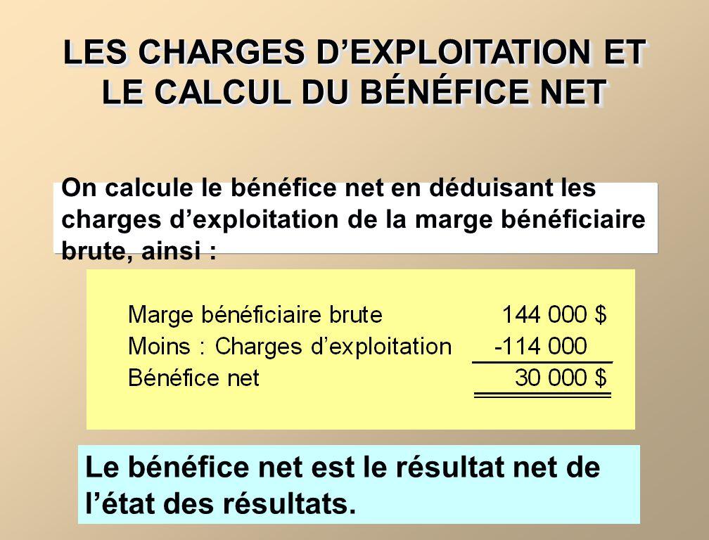 LES CHARGES DEXPLOITATION ET LE CALCUL DU BÉNÉFICE NET Le bénéfice net est le résultat net de létat des résultats.