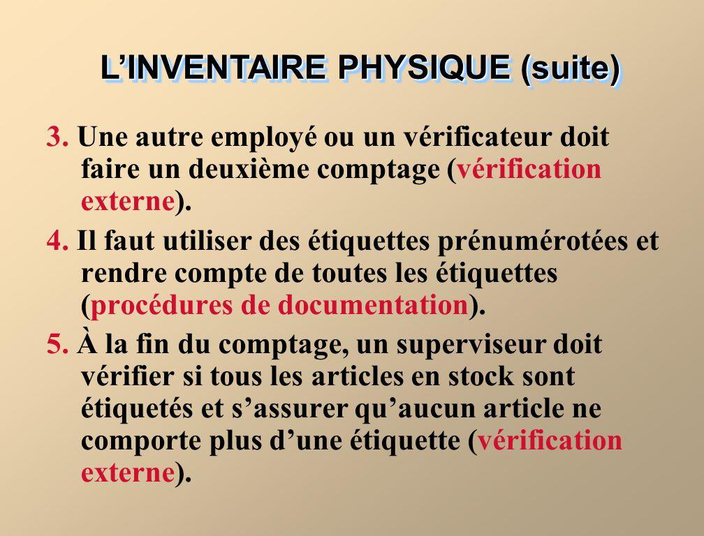 LINVENTAIRE PHYSIQUE (suite) 3.
