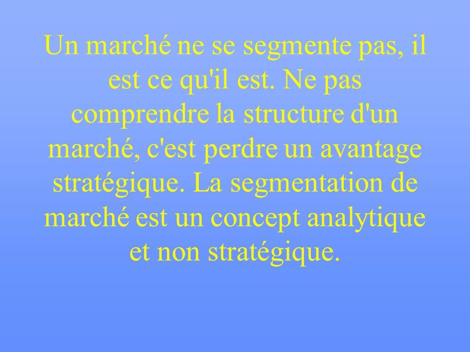 Un marché ne se segmente pas, il est ce qu'il est. Ne pas comprendre la structure d'un marché, c'est perdre un avantage stratégique. La segmentation d