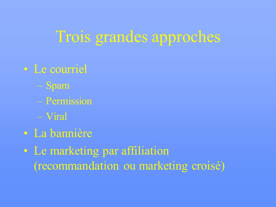 Trois grandes approches Le courriel –Spam –Permission –Viral La bannière Le marketing par affiliation (recommandation ou marketing croisé)