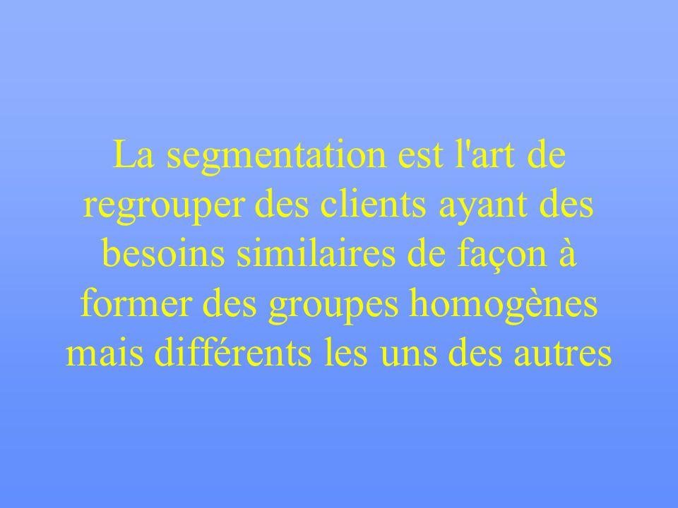 La segmentation est l art de regrouper des clients ayant des besoins similaires de façon à former des groupes homogènes mais différents les uns des autres