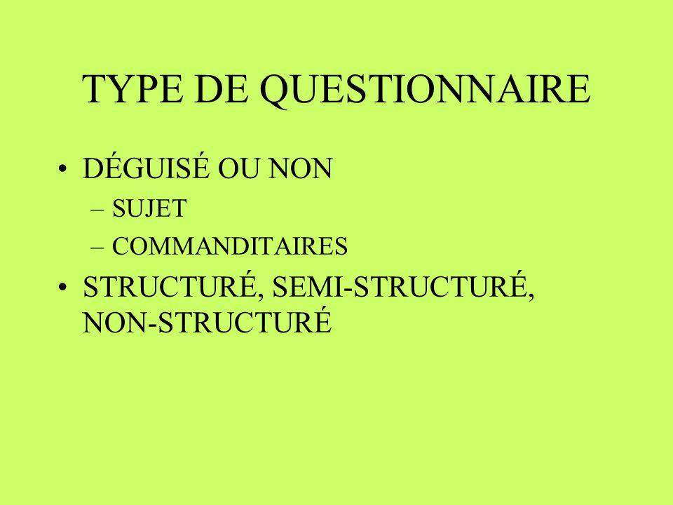 TYPE DE QUESTIONNAIRE DÉGUISÉ OU NON –SUJET –COMMANDITAIRES STRUCTURÉ, SEMI-STRUCTURÉ, NON-STRUCTURÉ