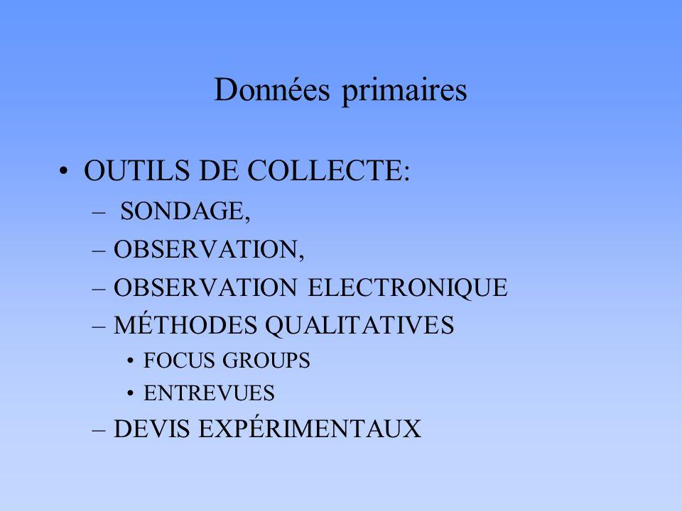 Données primaires OUTILS DE COLLECTE: – SONDAGE, –OBSERVATION, –OBSERVATION ELECTRONIQUE –MÉTHODES QUALITATIVES FOCUS GROUPS ENTREVUES –DEVIS EXPÉRIME