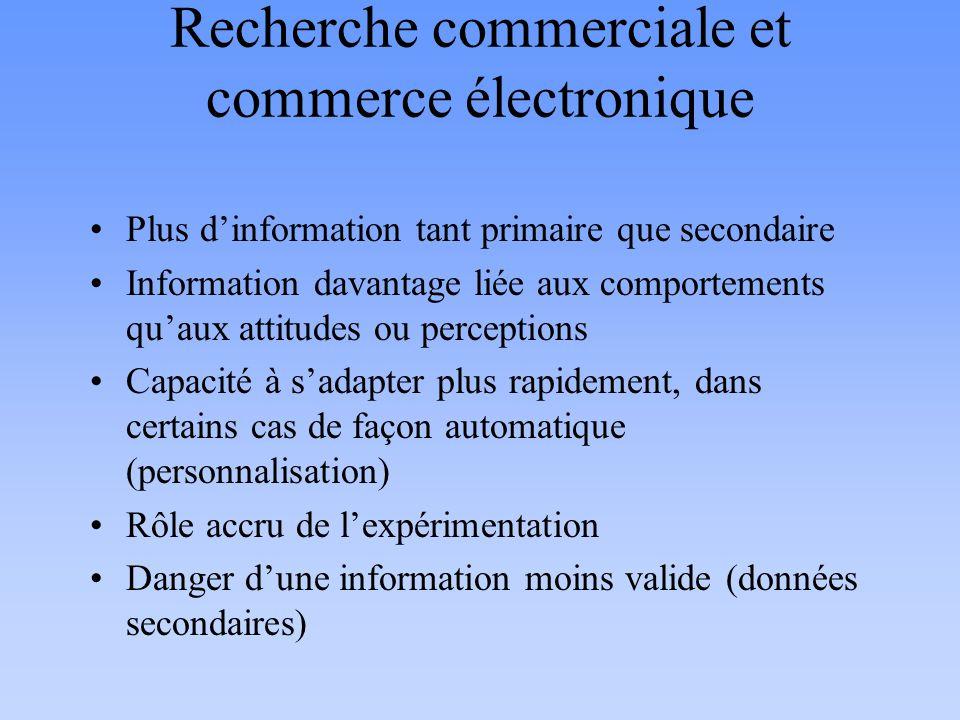 Recherche commerciale et commerce électronique Plus dinformation tant primaire que secondaire Information davantage liée aux comportements quaux attit
