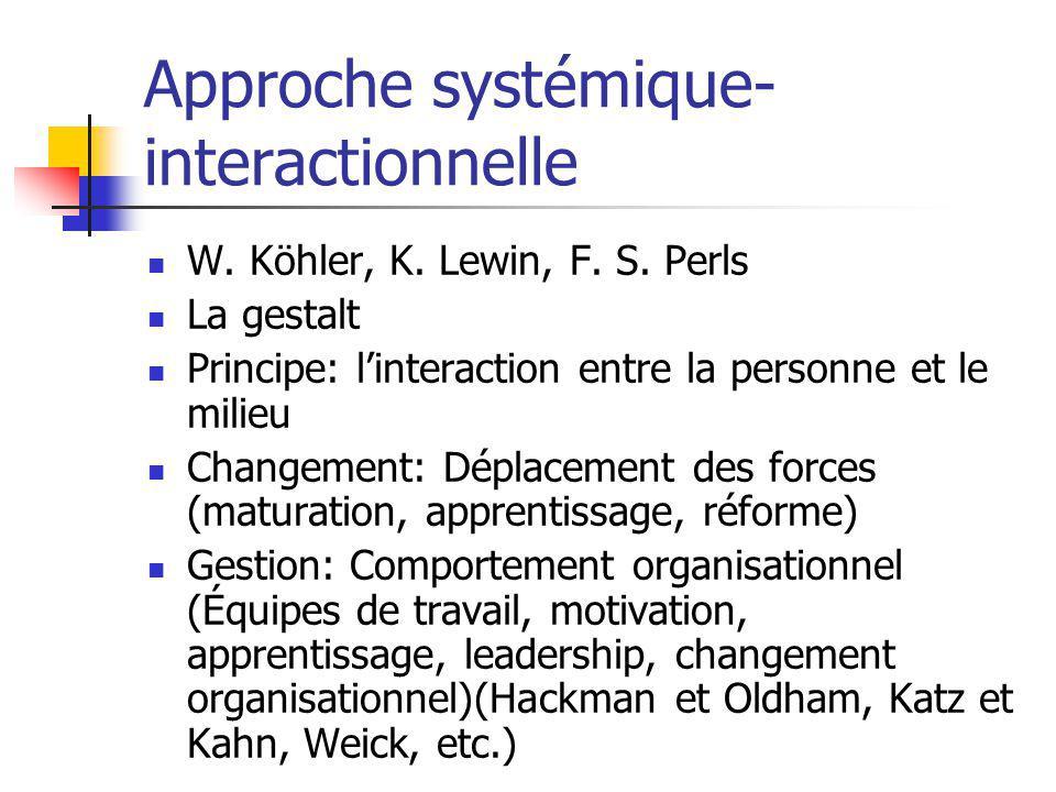 Approche systémique- interactionnelle W. Köhler, K.