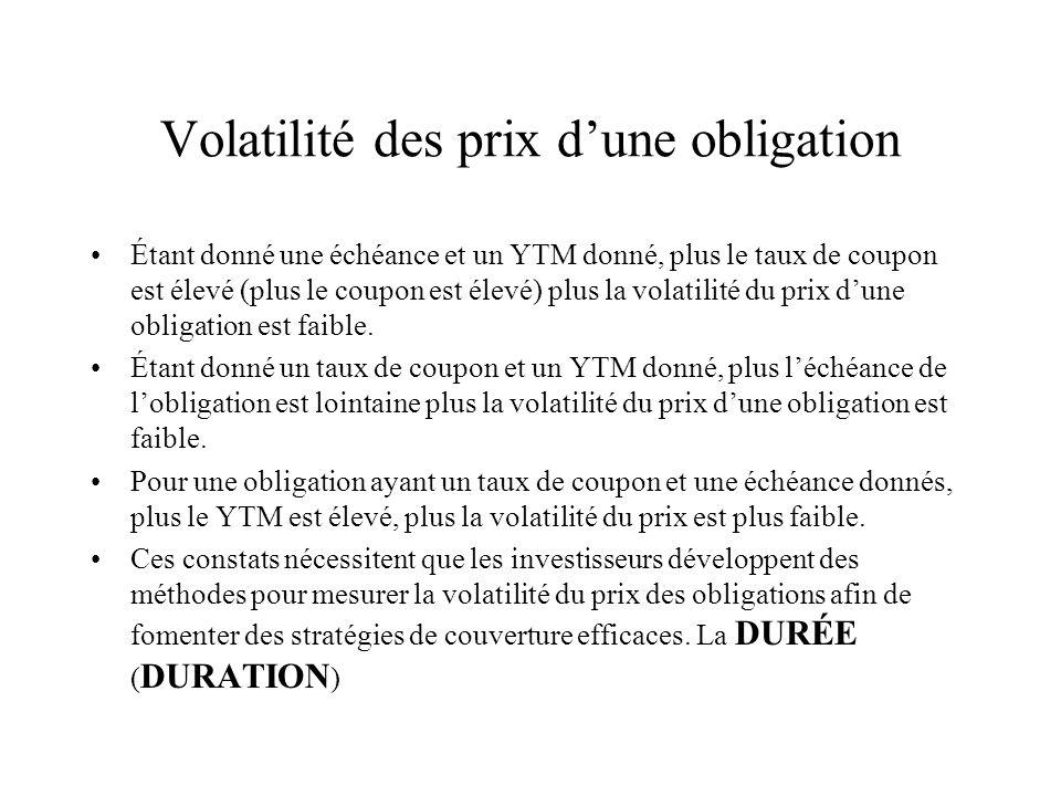 Volatilité des prix dune obligation Étant donné une échéance et un YTM donné, plus le taux de coupon est élevé (plus le coupon est élevé) plus la volatilité du prix dune obligation est faible.