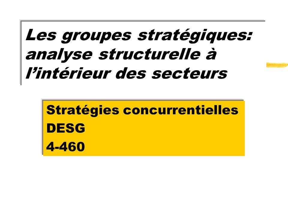 Les groupes stratégiques: analyse structurelle à lintérieur des secteurs Stratégies concurrentielles DESG 4-460