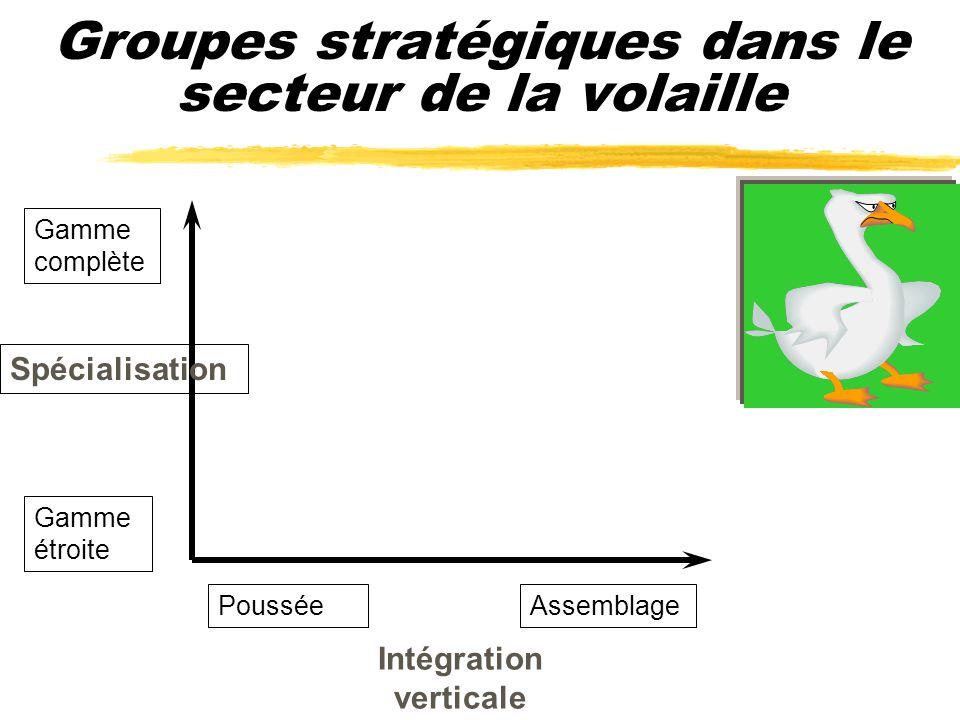 Groupes stratégiques dans le secteur de la volaille Spécialisation Intégration verticale Gamme complète Gamme étroite PousséeAssemblage